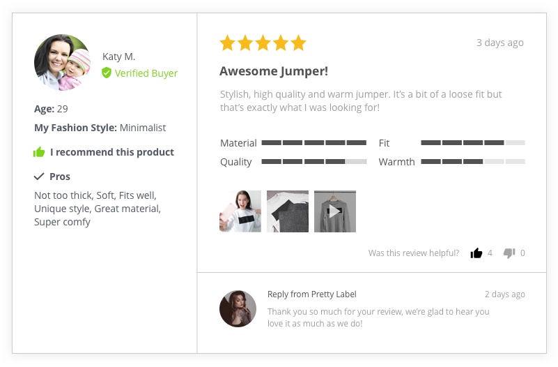 Review with attributes and store reply